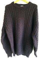 Vintage LIBERTY Pure Wool Jumper Aran Cable Chunky Knit VTG Mens Burgundy Large