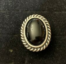 Premier Design Jewelry All Drama Silver Plated Ring Size 8 Black Stone