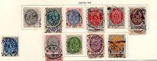 Denmark - Full set plus of the 1875-79 Numeral set. Scott #25-34 USED