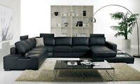 NEW Contemporary Large Sectional Living Room Black Bonded Leather Sofa Set IGVG