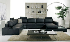 Contemporary Sectional Living Room Set Black Eco Leather LARGE Sofa Chaise GVG
