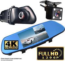 "5"" HD 1080P 300mm Rearview Mirror DVR Dual Lens Video Dash Cam Night Vision W49"
