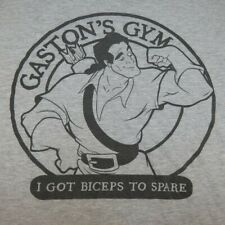 DISNEY BEAUTY & BEAST GASTON'S GYM MUSCLE BICEPS TO SPARE T SHIRT Sz Mens XL