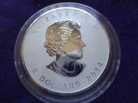 2014 Canada $5 Maple Leaf Reverse Proof Coin 1 oz .9999 Silver Horse Privy BU