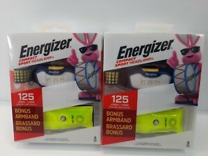 2 Energizer Compact Sport Headlamp  Bonus Armband 125 Lumens Batteries included