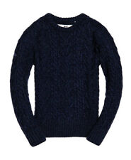 New Mens Superdry Jacob heritage crew navy twist premium jumper LARGE