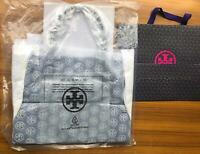 TORY BURCH Ella Tote Large Bag Nylon Leather Black Free USPS Priority Authentic