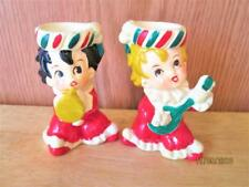 VINTAGE LEFTON'S #7048 KIDS PLAYING MUSIC CERAMIC CANDLE HOLDERS MADE IN JAPAN