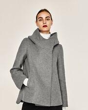 ZARA WOMEN GREY SHORT COAT WITH WRAPAROUND COLLAR SIZE SMALL S 26 outwear jacket