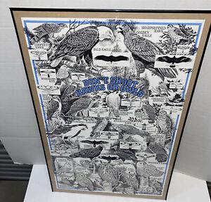 Vintage Wildlife Conservatory Poster Don't Shoot Hawks Owls Illinois Birds 34x22