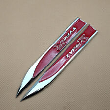 2x Car Metal Red TypeR Side waist Skirts Badge Knife Logo Sticker Fender Emblem