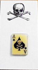 Secret Occult Ace Spade Card Gangster Hit Man Biker Club Member Skull Death Pin