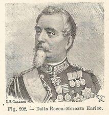 B1807 Enrico della Rocca-Morozzo - Incisione antica del 1925 - Engraving