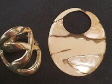 Vintage Old Tin Goldtone Pressed Enamel  Pendant Modernist Gold Plated Ring 6.5