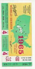 1965 WORLD SERIES TICKET STUB - DODGERS v. TWINS - GAME 2 - DRYSDALE WINS