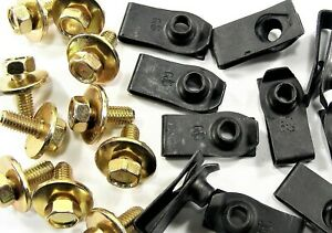 Body Bolts & U-nut Clips- M6-1.0 x 16mm Long- 10mm Hex- 40 pcs (20ea)- LD#149F