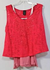 DARK ROSE PINK TWO PIECE TANK & SHEER TOP SIZE 3X 22W - 24W