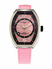 Montres De Luxe Women's EXL A 8303 Estremo Lady Pink Luminous Leather Date Watch