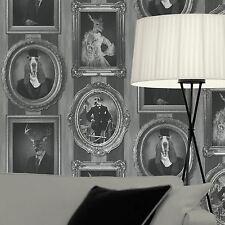 Papel pintado Muriva - DE LUJO Novedad Perro - en marcos - gris / Negro - J59309
