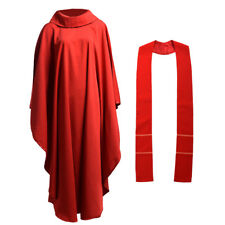Red Catholic Church Chasuble Priest Vestments Robe Cloak Garment w Cowl Collar