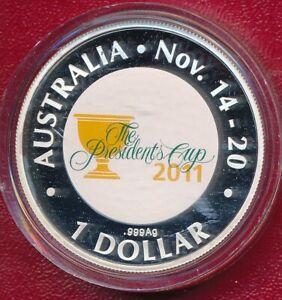 AUSTRALIA 2011 PRESIDENTS CUP ONE DOLLAR COLOUR PRINTED COIN **BOX & COA**
