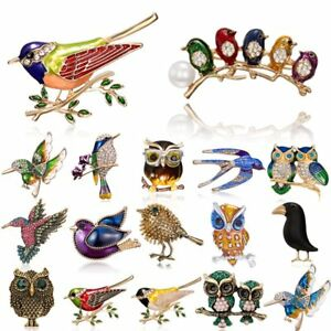 Retro Women Birds Owl Brooch Pin Crystal Enamel Badge Animals Jewelry Gift New
