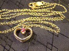 "Beautiful 14 K Yellow Gold Prong Set Ruby Heart Pendant 18"" Chain Necklace"
