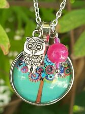 🌸 FLOWERING TREE of LIFE PENDANT NECKLACE w OWL CHARM 🌸 BIRTHDAY GIFT 🌸NEW 🌸