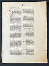 RARE Incunabula Leaf Commentary on St. Augustine's City of God, Freiburg, 1494