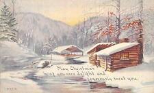 CHRISTMAS GREETINGS Log Cabin Snow Scene Vintage Postcard ca 1910s