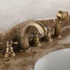 Antique Brass Roman Tub Faucet 5 Holes Deck Mount Bathtap Handheld Shower ltf051