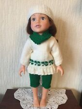 HAND KNITTED DOLLS CLOTHES FOR AMERICAN GIRL / DESIGNAFRIEND AND SIMILAR (AG10)
