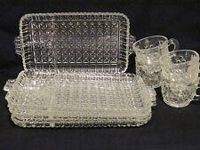 4 Sets Vintage Pressed Glass Appetizer Snack Lunch Plate Tray & Punch Eggnog Mug
