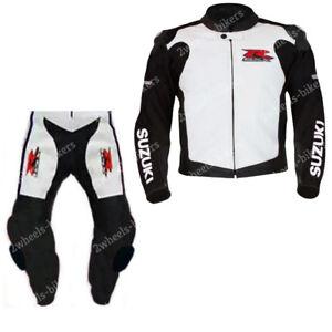 SUZUKI GSXR Motorbike Leather Suit Mens Biker Motorcycle Leather Suits CE Armour