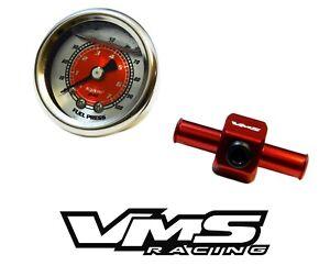"""0-100 PSI RACING FUEL PRESSURE GAUGE & 3/8"""" INLINE HOSE END TEE ADAPTER - RED"""