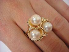 "14K YELLOW GOLD PEARLS AND DIAMONDS ""BOUQUET"" LADIES RING 6.5 GRAMS"