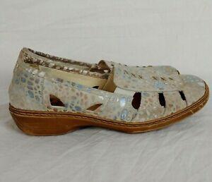 Rieker Womens 42 10 US Anti stress Flat Pastel Dot Grey Comfort Shoes Slip On