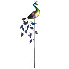 Vibrant Peacock Garden Ornament with Solar LED Light for Patio & Outdoors M&W