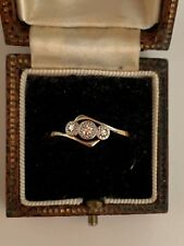 ART DECO 18ct Yellow Gold Platinum  Old Mine Diamond Ring 1900-1910