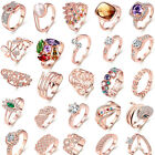 Women Men Topaz Gemstone Rose Gold Plated Silver Ring Wedding Jewelry Size 5-9