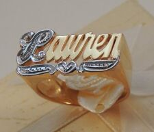 NAME RING PERSONALIZED STERLING SILVER ANY NAME *WITH BIT WORK* 18K GOLD PLATED