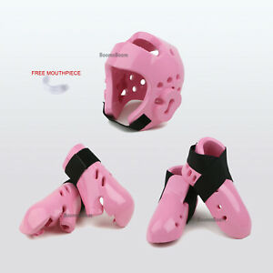 Karate Sparring Gear Basic set New Foam Headgear,Hand,Foot Protectors Guard-PINK