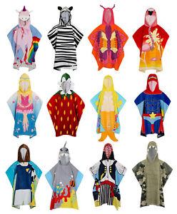 Childrens Hooded Beach Towel Bath Swimming Towel Boys Girls Character Poncho