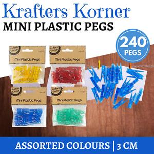 240 x PLASTIC MINI CRAFT PEGS ASSORTED COLOURS 3cm Craft Photo Peg Home Decor