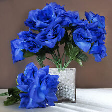 84 Royal Blue SILK OPEN ROSES Wedding Discounted Flowers Bouquets Centerpieces