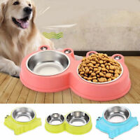 Double Stainless Steel Metal Puppy Dog Feeder Food Water Dish Bowl Pet Dog Cat