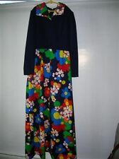 Vtg 60's Look mod Hostess Dress Floral Skirt  & lapels Puritan Forever Young