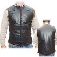 ARD Champs™ Men's Bullet Proof Style Motorcycle Biker Leather Vest-Black S-6XL