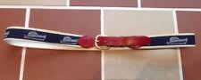 Vintage Preppy Bahamas Yachting Cotton Webbing Leather Belt w Brass Buckle 40
