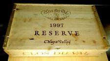 CLOS DU VAL 1997 Complete Wood Wine Crate Reserve Cabernet Case Box Label empty